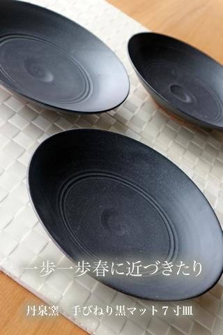 丹泉窯  手びねり黒マット7寸皿