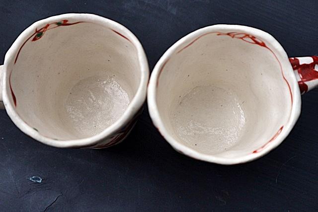 榛澤 宏  マグカップ  赤絵  陶器